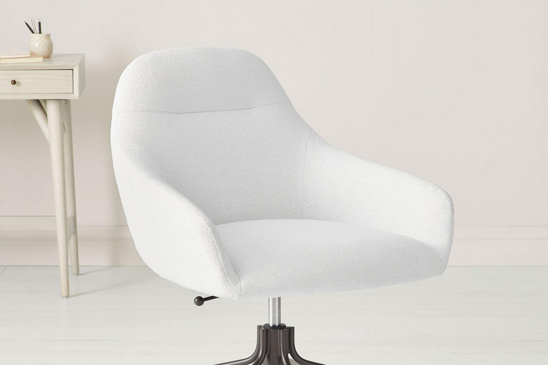 Valentina Office Chair White Boucle  And  Ant Bronze Base