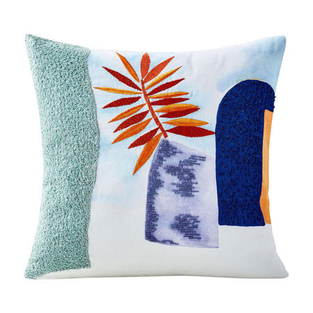 Embroidered Houseplant 46x46 Cushion Cover, Landscape Blue