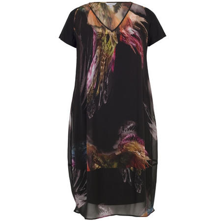d2e73c356401 Images. Tropical Feather Print Chiffon Dress Black
