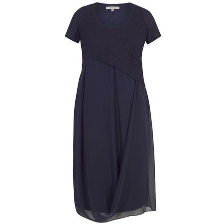 Bubble Bodice Chiffon Drape Dress Navy
