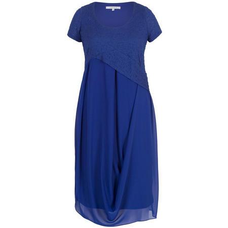 Bubble Bodice Chiffon Drape Dress Blue