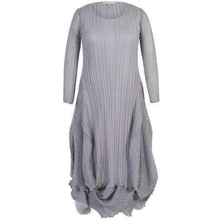 Matt Crepe Crush Pleat Flounce Chiffon Trim Dress Grey
