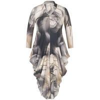 Misty Rose Notch Neck Jersey Dress Grey
