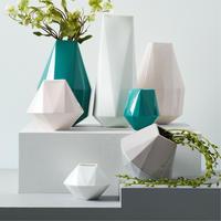 Faceted Porcelain Vases 12 Inches Blue Teal