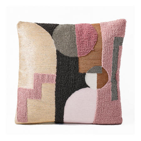Embellished Deco Shapes 51cm X 51cm Pillow Cover Adobe Rose