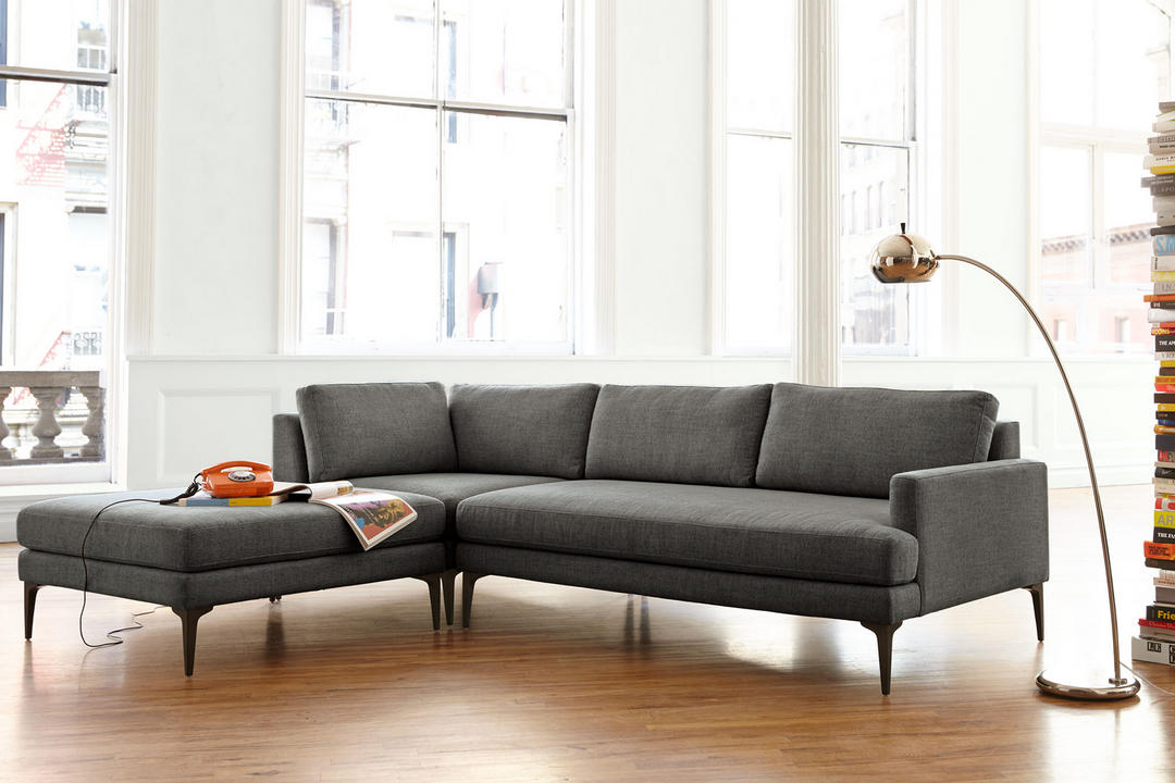 Andes Sectional LHF Chaise Gravel Twill