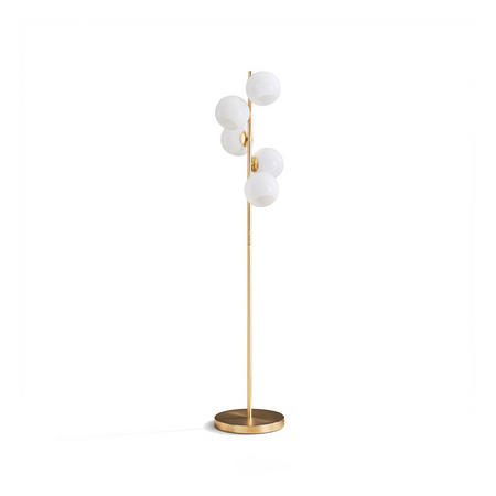 Staggered Glass 5 Light Floor Lamp Brass And Milk Glass