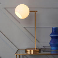 Staggered Glass Table Lamp Brass And Milk Glass