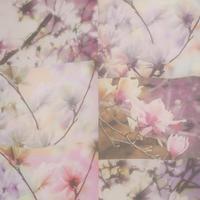 Orchid Print Panel Chiffon Scarf Lilac