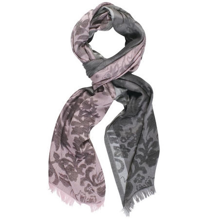 Floral Patterned Scarf with Frayed Hem Pink