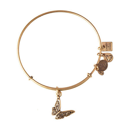 Butterfly Charm Bangle Gold