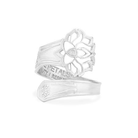 Lotus Peace Petals Spoon Ring Silver
