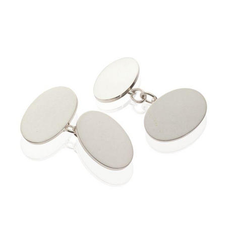 Silver Oval Plain Cufflinks