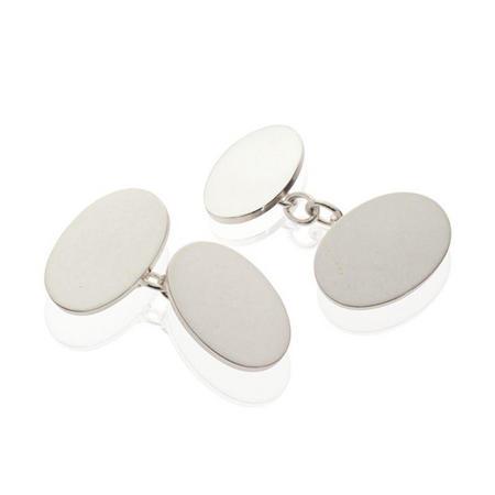 Silver Oval Plain Cufflinks