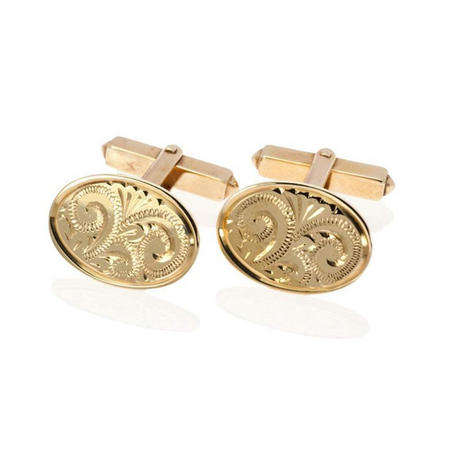 9Ct Yellow Gold Engraved Cufflinks