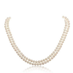 Cultured Freshwater Pearl Double Row Necklet With 18Ct Gold Clasp