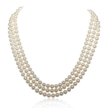 Cultured Freshwater Pearl Triple Row Necklet With 18Ct Gold Clasp