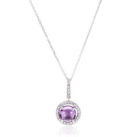 14Ct White Gold Cubic Zirconia And Amethyst Cluster Pendant & Chain