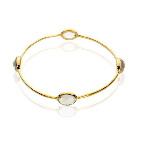 Silver And Yellow Gold Vermeil Crystal Bangle