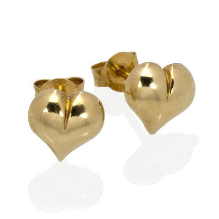 Silver And Yellow Gold Vermeil Heart Stud Earrings