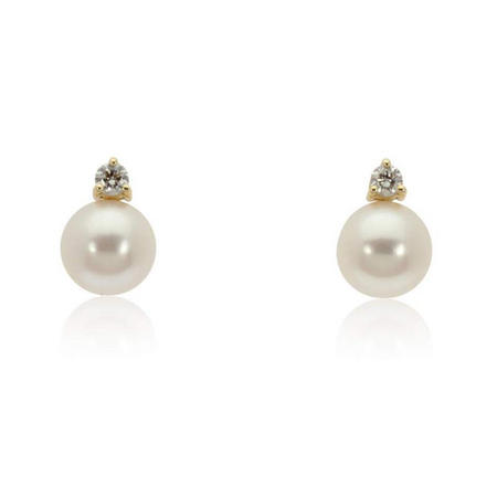 18Ct Gold Pearl And Diamond Earrings