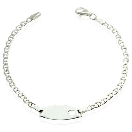 Girls Silver Bracelet with Heart