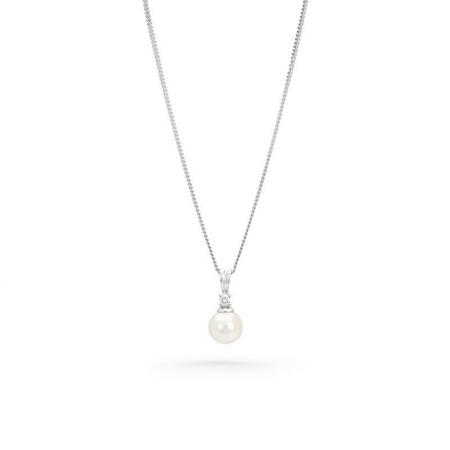 18ct White Gold Diamond & Akoya Rearl Pendant