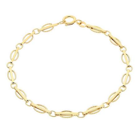9Ct Gold Textured Oval Bracelet