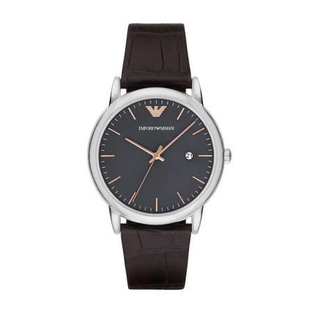 Gents Black Leather Strap Grey Dial Black