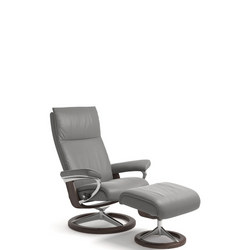 Aura Chair and Stool, Signature Base, Batick Wid Dove and Wenge