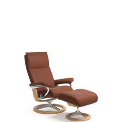 Aura Chair and Stool, Signature Base, Paloma Copper and Oak