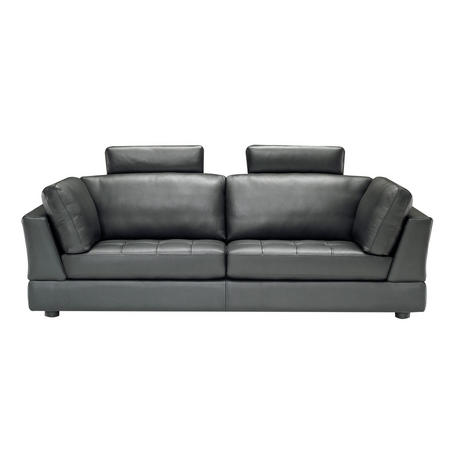 B617 Massimo Large Leather Sofa With Two Headrests Black