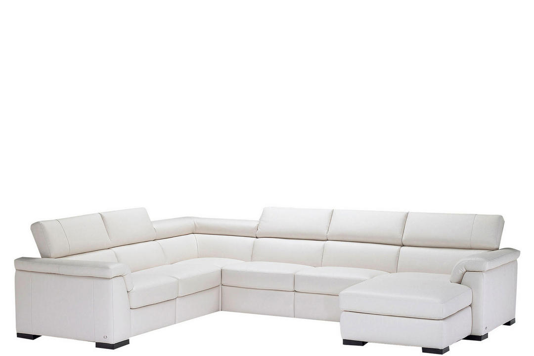 B634 Tomasso Leather Corner Group With One LAF Power Recliner And RAF Chaise White
