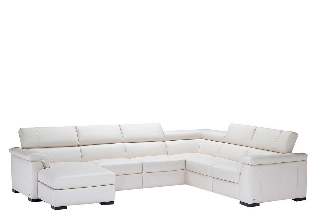 B634 Tomasso Leather Corner Group With One RAF Manual Recliner And LAF Chaise White