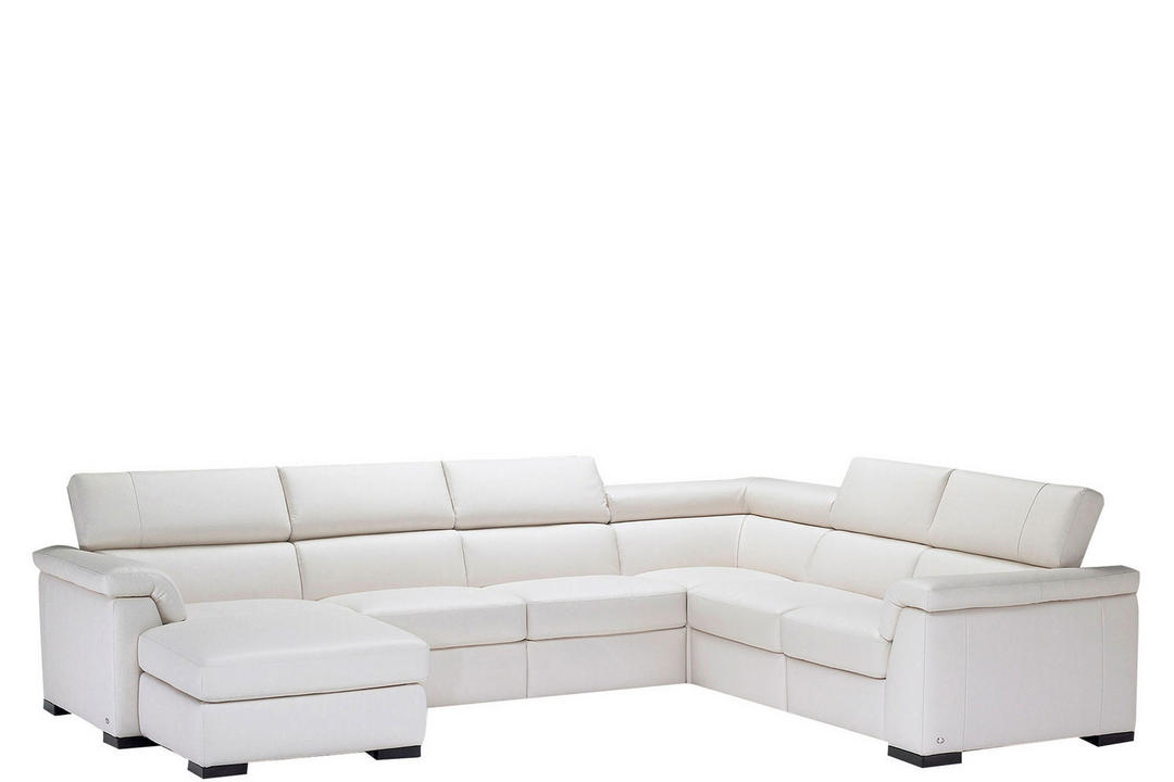 B634 Tomasso Leather Corner Group With One RAF Power Recliner And LAF Chaise White