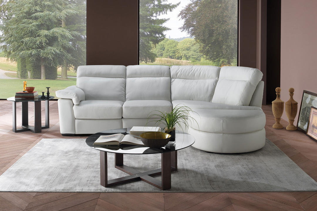 B757 Brivido Leather LHF 2.5-Seater With Power Recliner, RHF Terminal And Half Moon Ottoman White