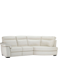 B757 Brivido Leather LHF 2.5-Seater With RHF Terminal White