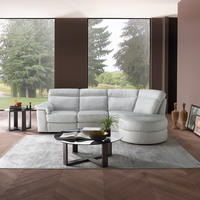B757 Brivido Leather LHF Two-Seater With RHF Terminal And Half Moon Ottoman White