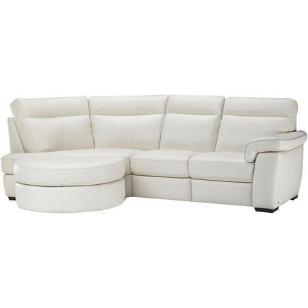 B757 Brivido Leather RHF 2.5-Seater With LHF Terminal And Half Moon Ottoman White