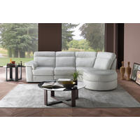 B757 Brivido Leather RHF 2.5-Seater With Power Recliner, LHF Terminal And Half Moon Ottoman White