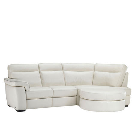 B757 Brivido Leather LHF 2.5-Seater With RHF Terminal And Half Moon Ottoman White