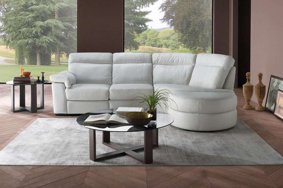 B757 Brivido Leather RHF Two-Seater With Power Recliner, LHF Terminal And Half Moon Ottoman White