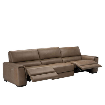 B969 Ozio Leather Sofa With Three Power Recliners Brown