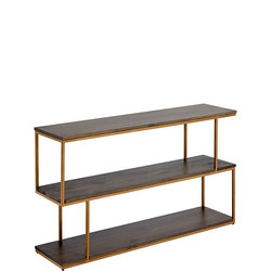 Metal Balance Low Shelving/Console Wood/Brass Finish