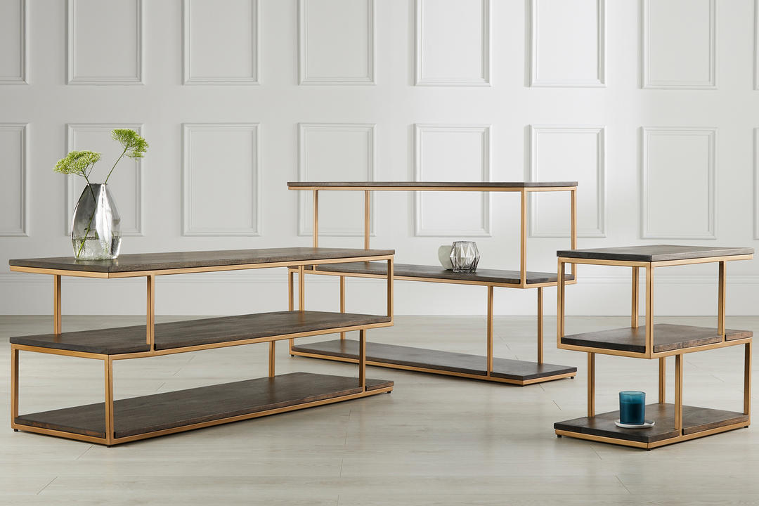 Metal Balance Side Table Wood/Brass Finish