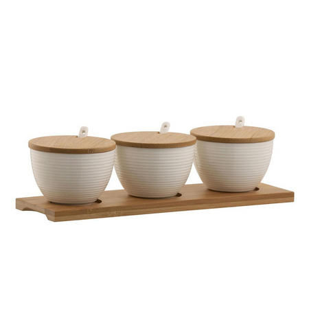 Living Ripple Three Bowls Set with Tray