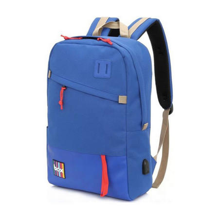 Box Backpack with Power Bank Blue