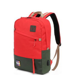 Box Backpack with Power Bank Red/Green