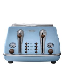 Icona Vintage 4 Slot Toaster Azure Blue