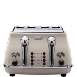 Icona Vintage 4 Slice Toaster Beige Cream